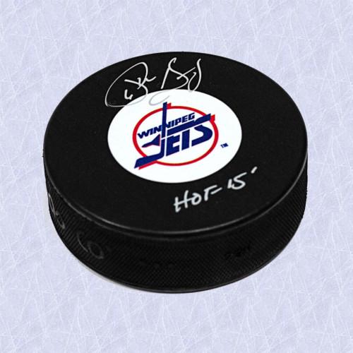 Phil Housley Hall of Fame Signed Puck-Winnipeg Jets Vintage Logo