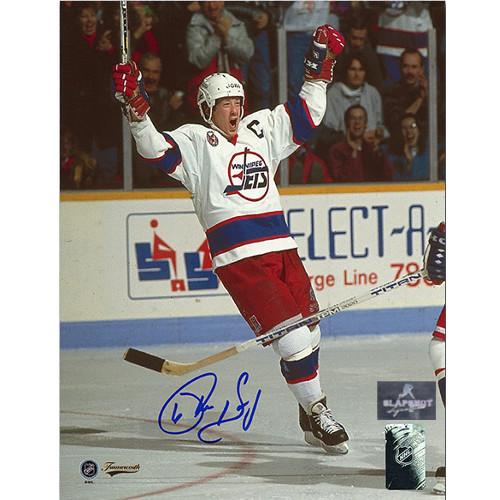 Phil Housley Winnipeg Jets Autographed Goal Celebration 8x10 Photo