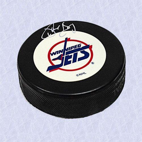 Phil Housley Winnipeg Jets Autographed Vintage Logo Hockey Puck