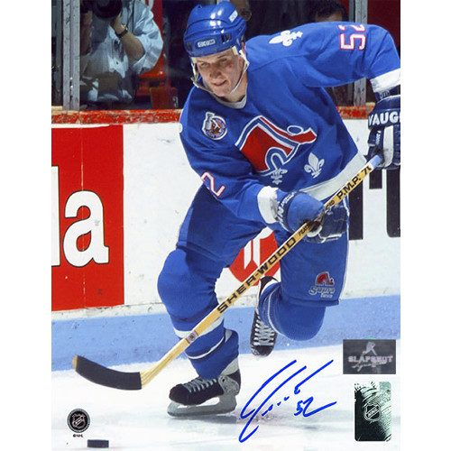 Adam Foote Quebec Nordiques Autographed Hockey Action 8x10 Photo