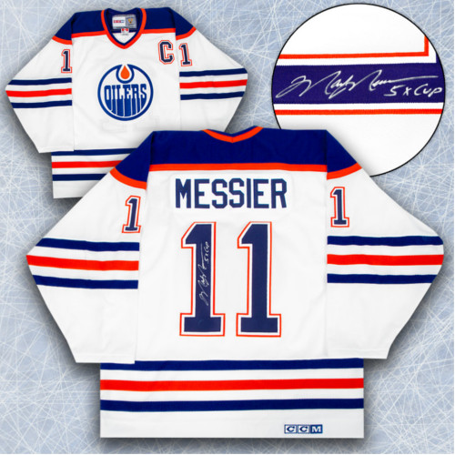 Mark Messier Signed Jersey Edmonton Oilers-5 Cup Note