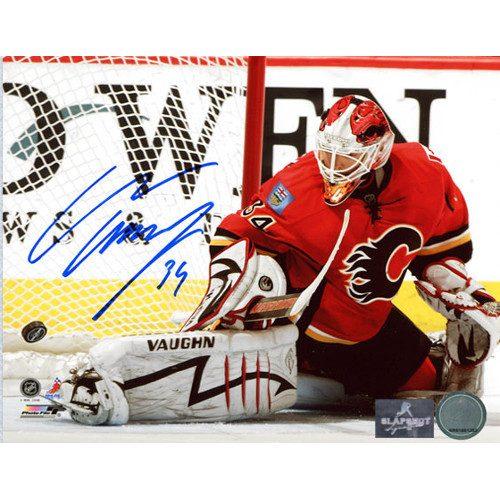 Miikka Kiprusoff Goalie Kick Save Calgary Flames Autographed 8x10 Photo
