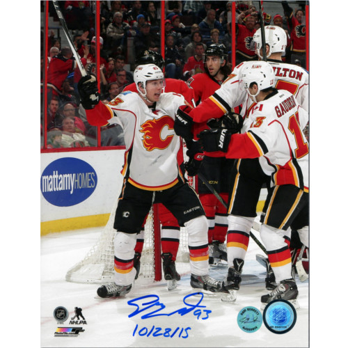 Sam Bennett Calgary Flames First NHL Goal Celebration Signed 8x10 Photo