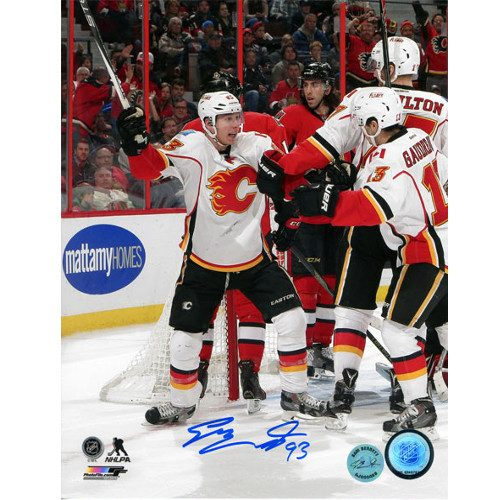 Sam Bennett Signed Photo-Calgary Flames First NHL Goal Celebration 8x10 Photo
