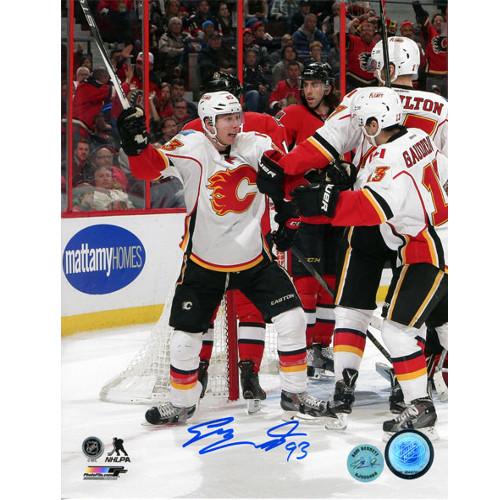 Sam Bennett Signed Photo-Calgary Flames First NHL Goal Celebration 8x10 Photo