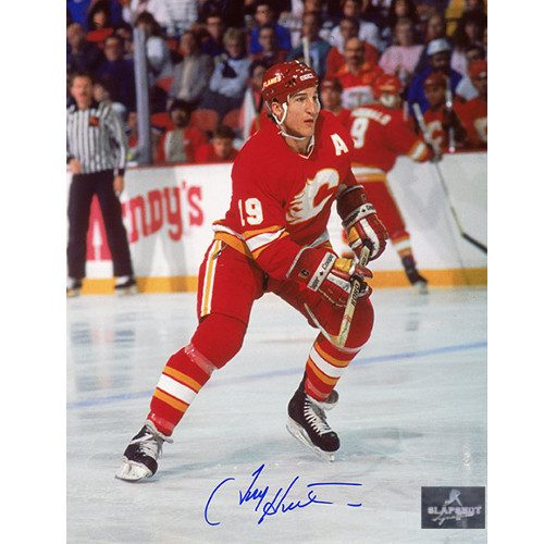 Tim Hunter Autographed Photo-Calgary Flames Hockey Action 8x10 Photo
