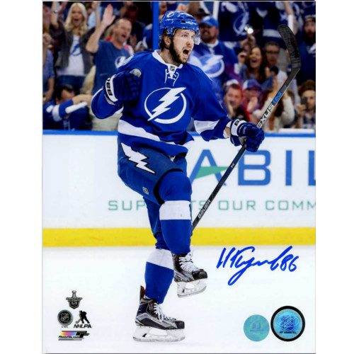 Nikita Kucherov Autographed Tampa Bay Lightning Goal Celebration 8x10 Photo