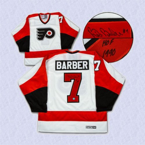 Bill Barber Autographed Jersey Philadelphia Flyers White Retro CCM