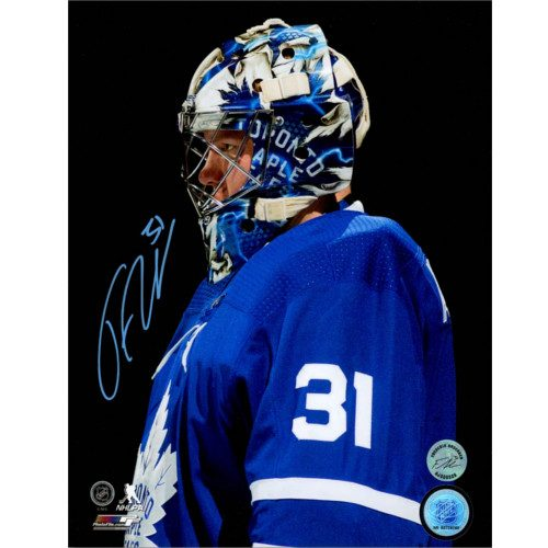 Frederik Andersen Signed Toronto Maple Leafs Close Up Blackout 8x10 Photo