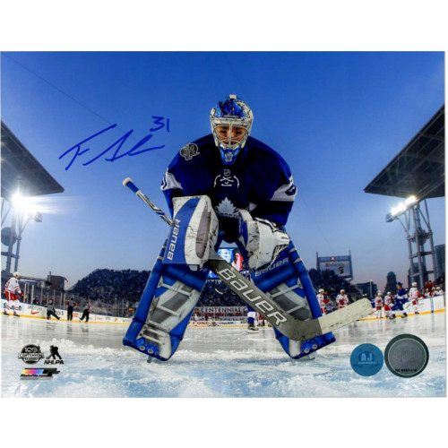 Frederik Andersen Toronto Maple Leafs Signed 2017 Centennial Classic 8x10 Photo