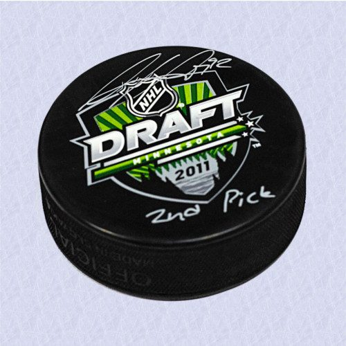 Gabriel Landeskog 2011 NHL Draft Puck Signed w/ 2nd Pick Inscription-Colorado Avalanche