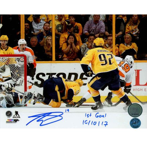 Nolan Patrick Autographed & Dated Philadelphia Flyers 1st NHL Goal 8x10 Photo