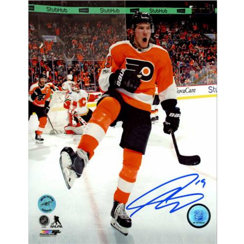 Nolan Patrick Autographed Philadelphia Flyers Goal Celebration 8x10 Photo