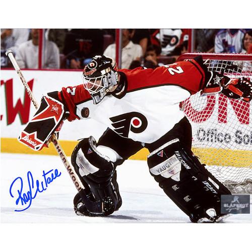 Ron Hextall Autographed Philadelphia Flyers Blocker Save 8x10 Photo