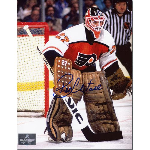 Ron Hextall Signed Philadelphia Flyers In Goal 8X10 Photo
