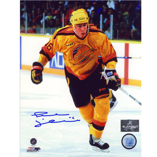 Trevor Linden Rookie Signed Yellow Jersey 8x10 Photo-Vancouver Canucks