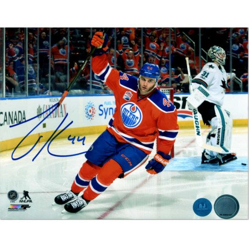 Zack Kassian Edmonton Oilers Autographed Playoff Goal Celebration 8x10 Photo