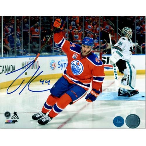 Zack Kassian Edmonton Oilers Autographed Playoff Goal Celebration 8x10 Photo