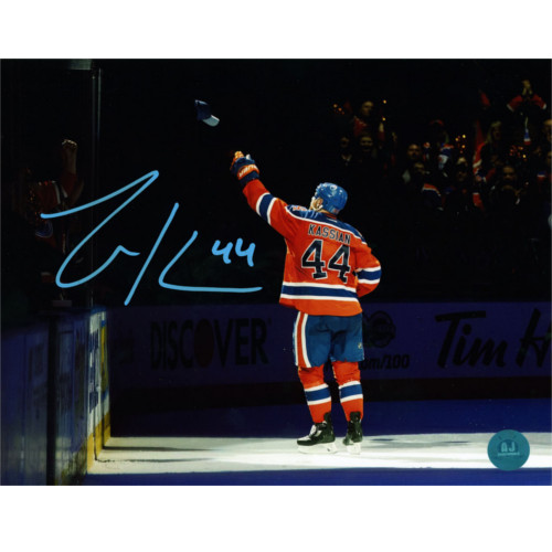 Zack Kassian Edmonton Oilers Autographed Reverse Fan Hat Toss 8x10 Photo