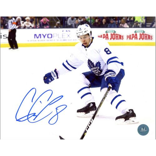 Connor Carrick Toronto Maple Leafs Autographed White Jersey 8x10 Photo
