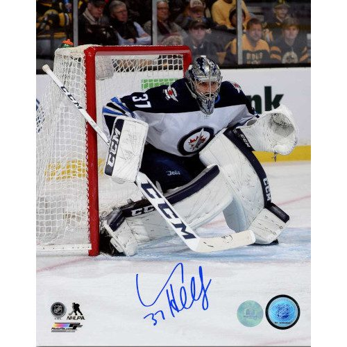 Connor Hellebuyck Winnipeg Jets Autographed Game Action 8x10 Photo