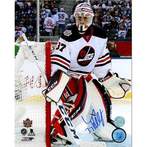 Connor Hellebuyck Winnipeg Jets Signed 2016 Heritage Classic 8x10 Photo