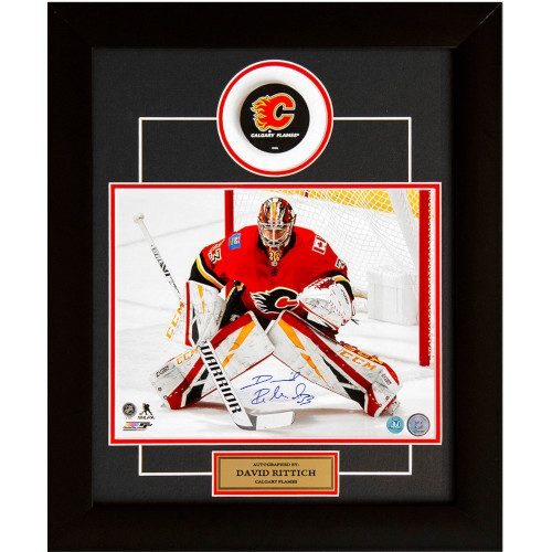 David Rittich Calgary Flames Autographed Hockey Goalie 20x24 Puck Frame