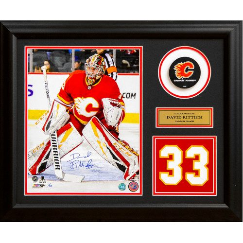 David Rittich Calgary Flames Signed Retro Logo Jersey Number 23x19 Frame #/33