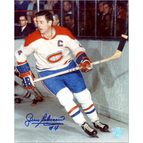 Jean Beliveau Montreal Canadiens Autographed Skating By Boards 8x10 Photo