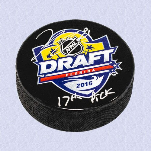 Kyle Connor 2015 NHL Draft Puck Autographed with 17th Pick Inscription