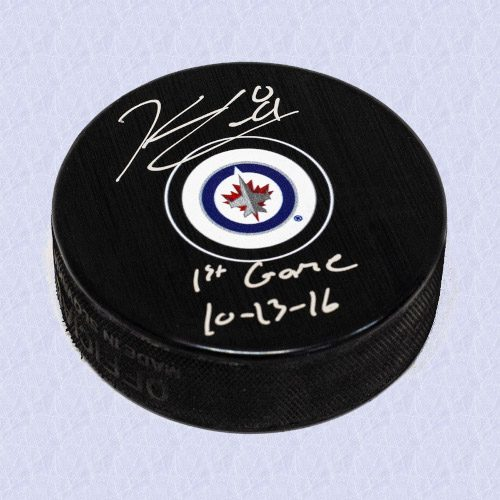 Kyle Connor Winnipeg Jets Signed & Dated 1st Game Autograph Model Hockey Puck
