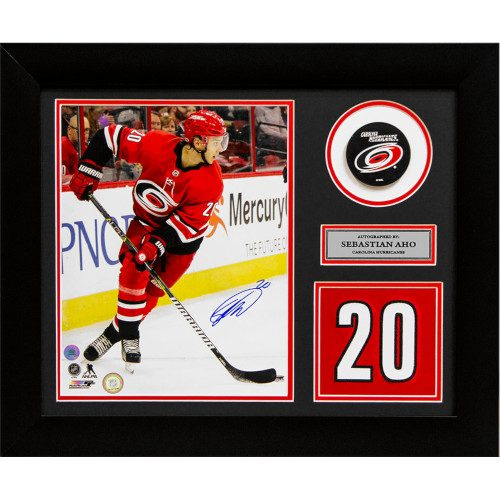 Sebastian Aho Carolina Hurricanes Signed Franchise Jersey Number 20x24 Frame