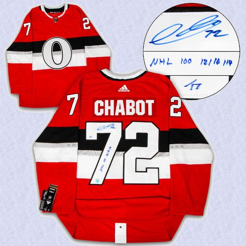Thomas Chabot Ottawa Senators Signed & Dated NHL 100 Classic Adidas Authentic Jersey LE/17