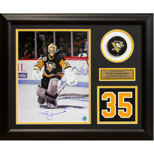 Tom Barrasso Pittsburgh Penguins Autographed Jersey Number 19x23 Frame