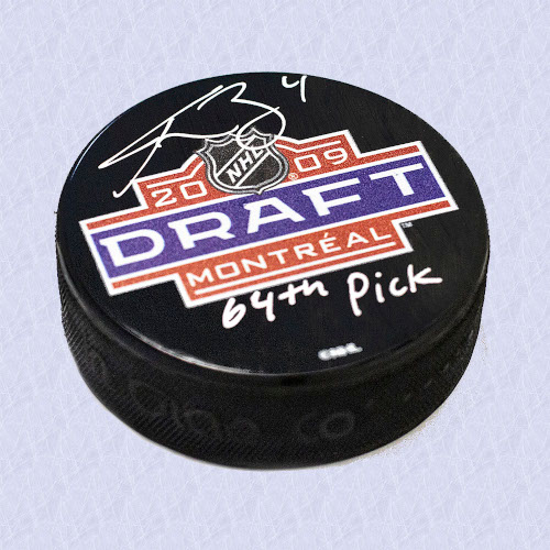Tyson Barrie 2009 NHL Draft Day Autographed Puck with 64th Pick Inscription