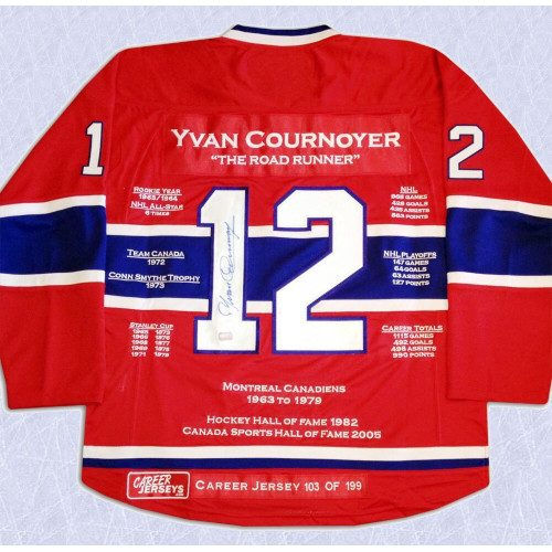 Yvan Cournoyer Montreal Canadiens Autographed Career Stats Hockey Jersey LE/199