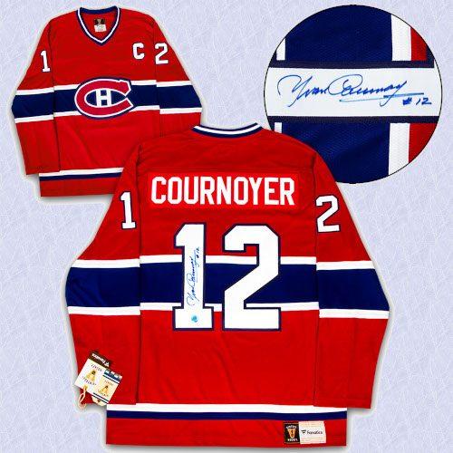 Yvan Cournoyer Montreal Canadiens Autographed Fanatics Vintage Hockey Jersey