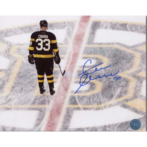 Zdeno Chara Boston Bruins Autographed Centre Ice Overhead Reverse 8x10 Photo