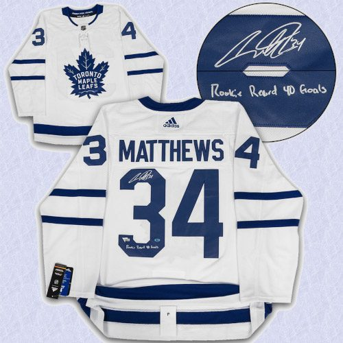 Auston Matthews Toronto Maple Leafs Signed Adidas Authentic Jersey with Goals Record