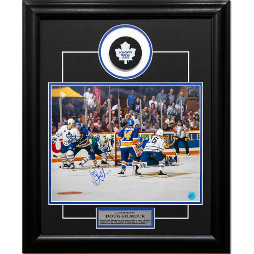 Doug Gilmour Toronto Maple Leafs Autographed Wrap Around 19x23 Puck Frame