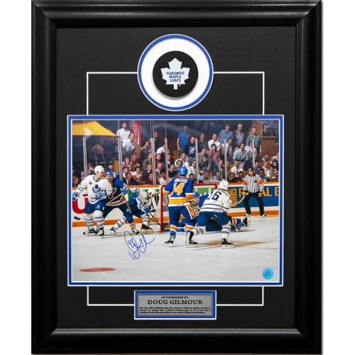 Doug Gilmour Toronto Maple Leafs Autographed Wrap Around 19x23 Puck Frame