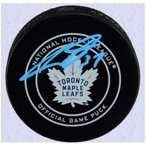 Auston Matthews Toronto Maple Leafs Autographed Game Model Hockey Puck