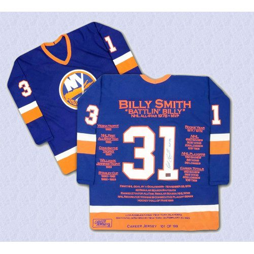 Billy Smith New York Islanders Autographed Career Stats Hockey Jersey LE/199