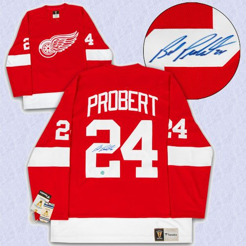 Bob Probert Detroit Red Wings Autographed Fanatics Vintage Hockey Jersey