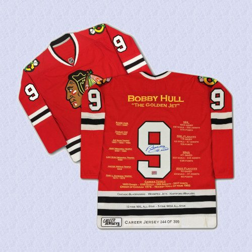 Bobby Hull Chicago Blackhawks Autographed Career Stats Hockey Jersey LE399