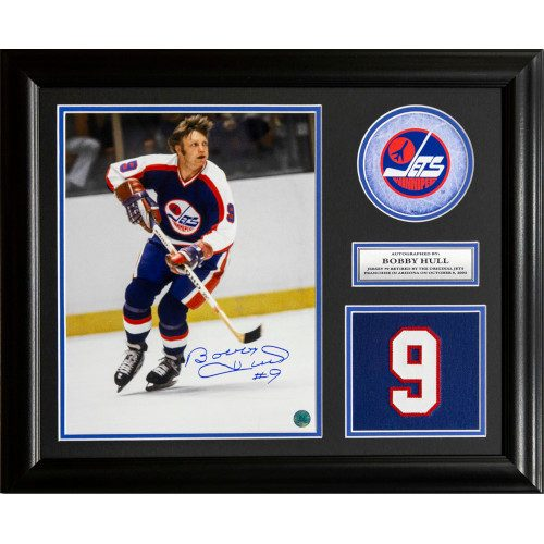 Bobby Hull Winnipeg Jets Signed Retired Jersey Number 23x19 Frame