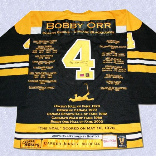 Bobby Orr Boston Bruins Autographed Career Stats Hockey Jersey GNR LE/144