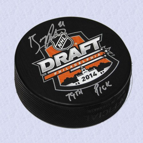 Brayden Point 2014 NHL Draft Day Autographed Hockey Puck with 79th Pick Note