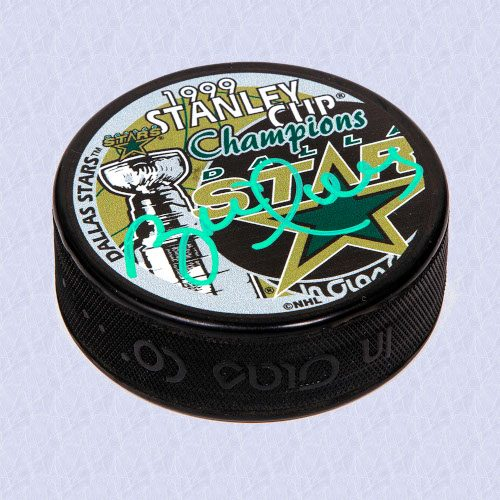 Brett Hull Dallas Stars Autographed 1999 Stanley Cup Champions Hockey Puck