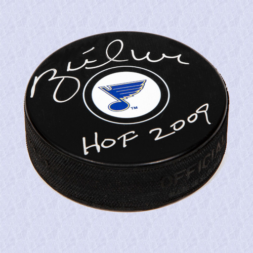 Brett Hull St. Louis Blues Signed Autograph Model Hockey Puck with HOF Note